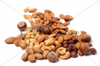 Cashews, hazelnuts and almonds