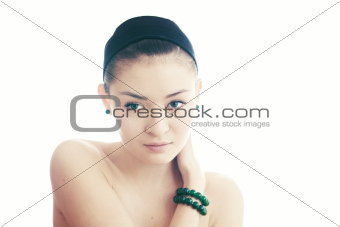 Beautiful young girl with green eyes