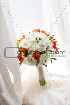 bouquet on the window