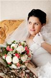 happy bride on the sofa