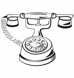 Black and white contour phone vector