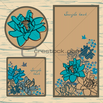 Set of labels and cutaway with flowers