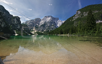 Beautiful, colour lake Lago di Braies in Dolomiti Mountains 3 -