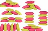 bright pink and green pillows isolated on white
