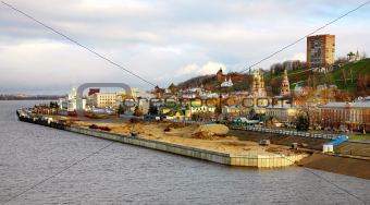 Panoramic view of autumn Nizhny Novgorod on confluence two river