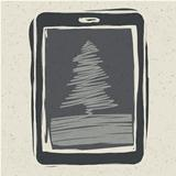 Christmas tree on tablet device, vector illustration, EPS10