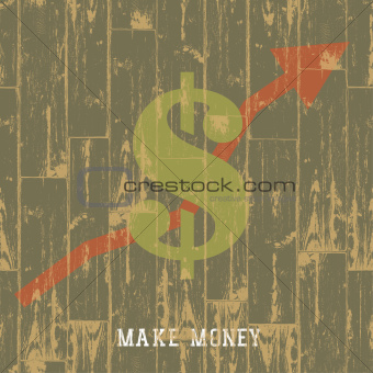 Dollar sign with arrow, business growing concept. VEctor illustr