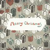 Christmas gifts on wooden texture. Vector illustration, EPS10.