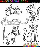 Cartoon Cats or Kittens for Coloring Book