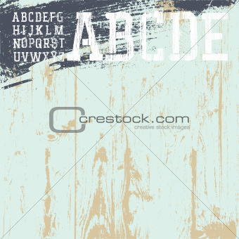 Grunge alphabet with wooden background, ready for use. Vector il