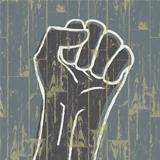 Fist - revolution symbol. Grunge, EPS10.