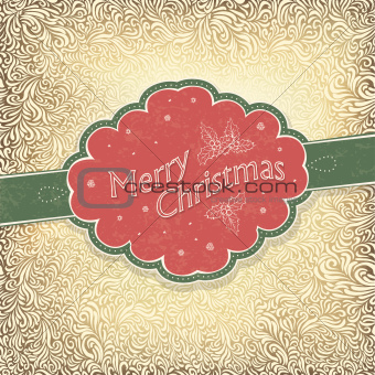 Merry Christmas vintage card with snowy pattern. Vector illustra