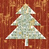 Christmas tree words composition. Vintage styled illustration, E