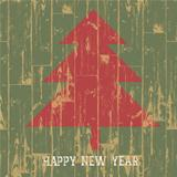 New year tree symbol with greetings on wooden planks texture. Ve