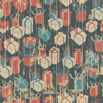 Christmas seamless background with gifts pattern. Vector illustr
