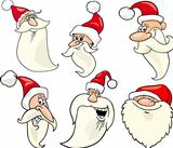 happy santa claus cartoon faces icons set