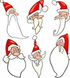 funny santa claus cartoon faces icons set