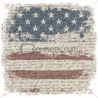 Vintage usa flag background with isolate grunge borders. Vector