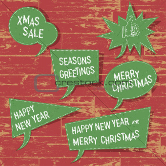 Xmas speech bubbles on wooden texture. Vector illustration, EPS1