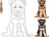 Vector Coloring Book of smiling Puppy dog German shepherd