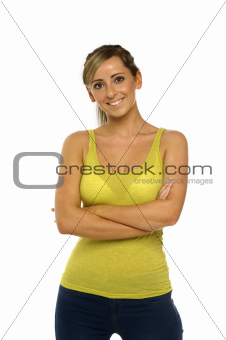 Woman in green top isolated on a white background