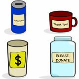Donation jar and cups