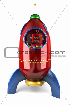 Happy robot in rocket