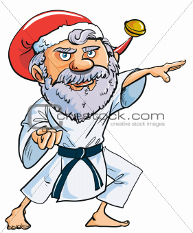 Cartoon Karate Santa Clause