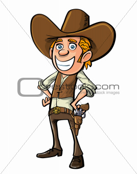 Smiling cartoon cowboy