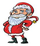 Cartoon smiling happy Santa in red
