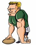 Cartoon Rugby player with a ball