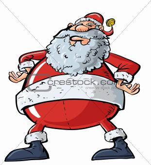 Cartoon Santa with a big belly