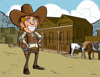 Cartoon cowboy with sixgun