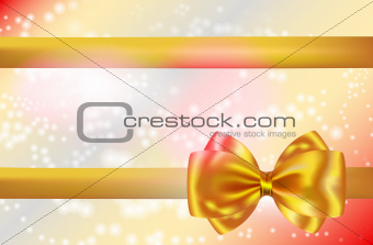Abstract background with golden bow and ribbon