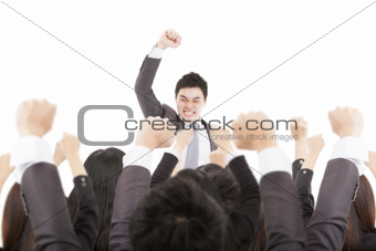 excited businessman with success business team