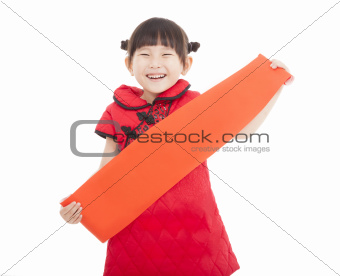 happy chinese new year. smiling asian little girl holding blank