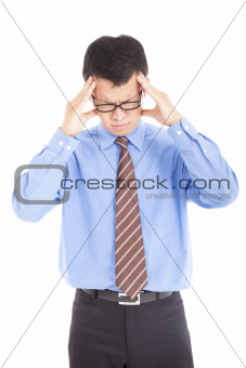businessman having headache and isolated on white