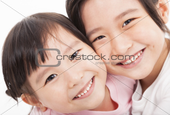 close up of happy little girls