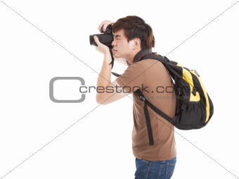 photographer with backpack  isolated on white background photogr