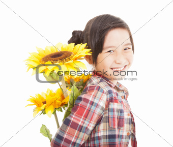 smiling little girl with sunflower