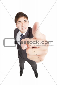 Angry businessman pointing to camera