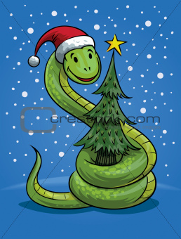 Christmas Snake Cartoon