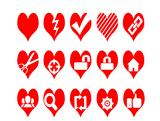 Red heart shapes