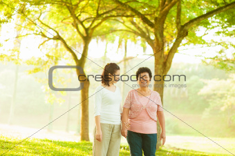 Asian family walking at outdoor