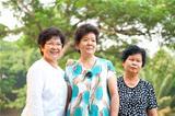 Three Asian senior women