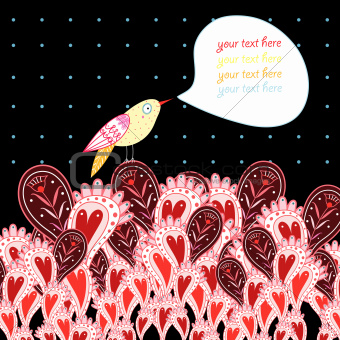 background with hearts and birds