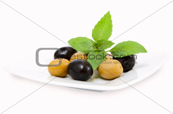 olives on white plate