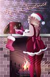 mrs santa wearing gifts in purple