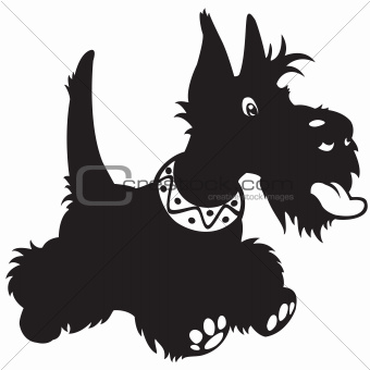 cartoon scottish terrier black white