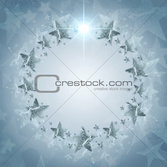 Christmas wreath of silver stars over grey background with text 